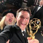 Jag och producenten Christer Åkerlund glada i New York efter att kammat hem vår Emmy Award 2016